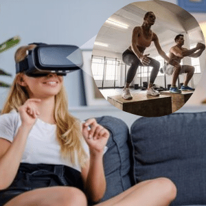 Woman in Virtual Reality Headset watching exercises