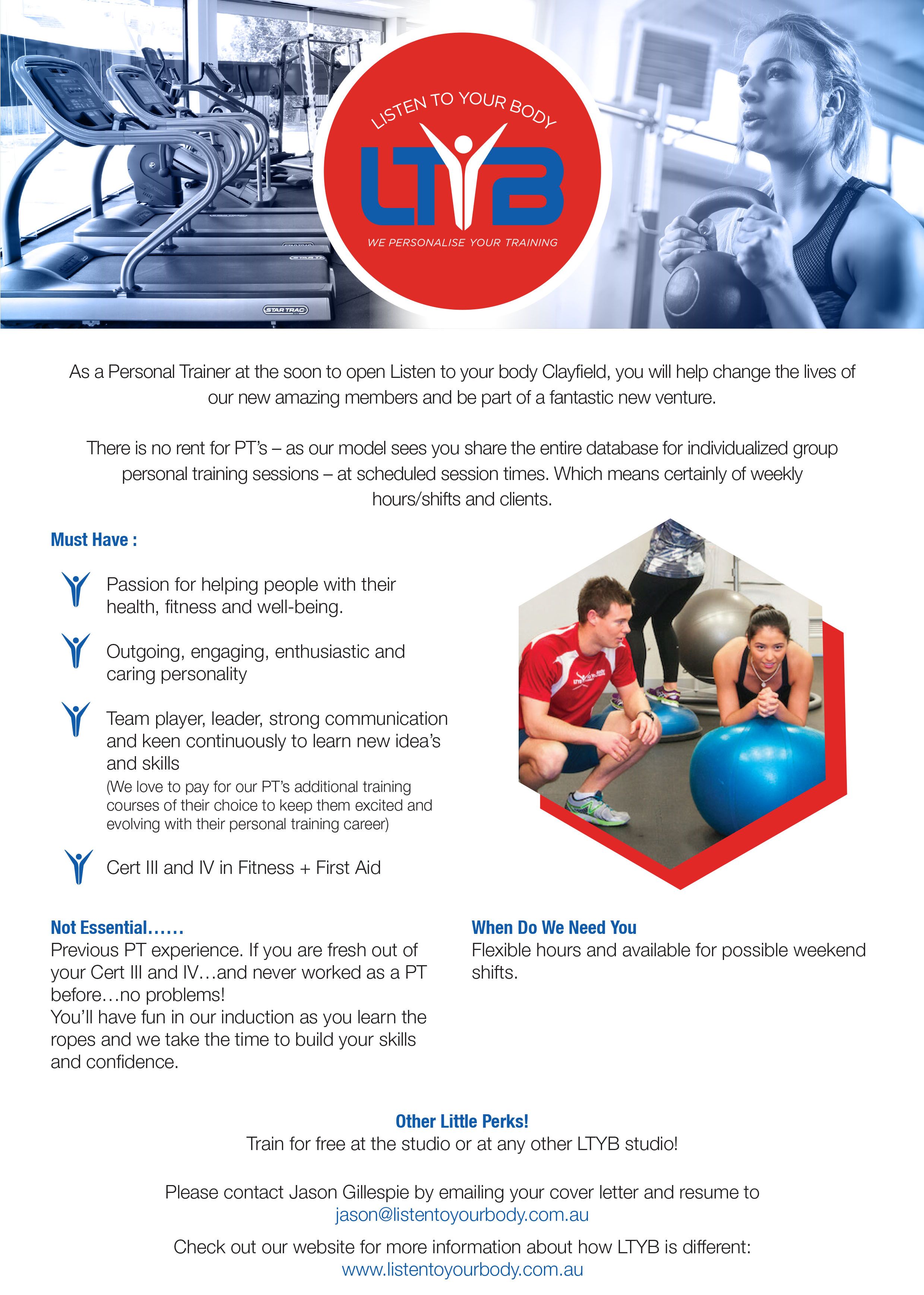 Onfit Job Opportunity - Listen to your Body Clayfield